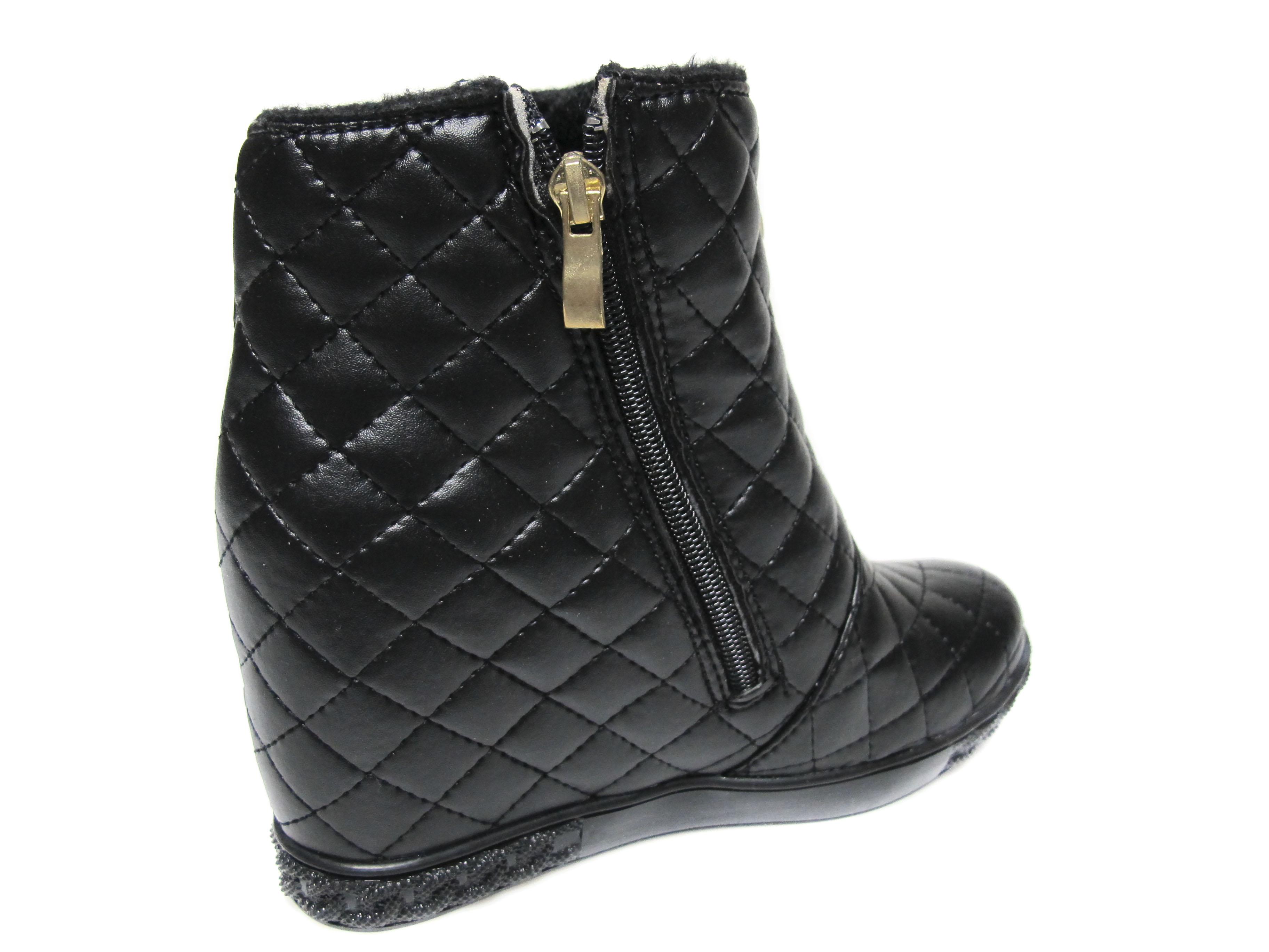ed1a5218afe Дамски боти на платформа еко кожа черни XFAD-20663 - Дамски обувки ...