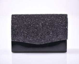 Абитуриентска чанта еко лак/брокат черен CVHU-1013456