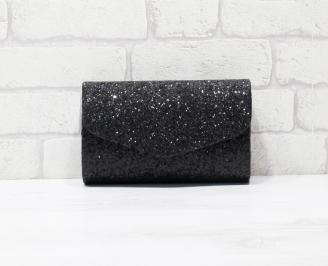 Абитуриентска чанта еко кожа /брокат черна WFJA-25921