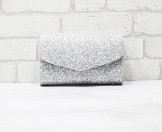 Абитуриентска чанта еко кожа /брокат сребриста TXSP-25940