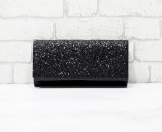 Абитуриентска чанта еко лак/брокат черен SKVE-26150