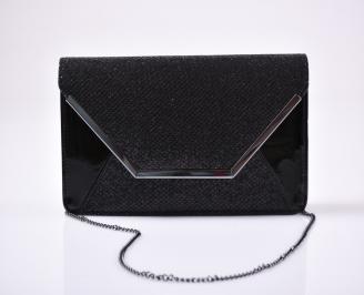 Абитуриентска чанта еко лак/брокат черна ISOS-26617
