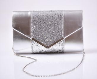 Абитуриентска чанта еко кожа/брокат сребриста LXFO-26623