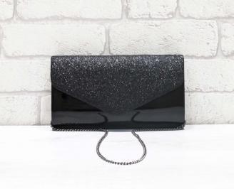 Абитуриентска чанта еко лак/брокат черна WHHA-26644