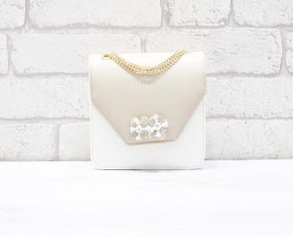 Абитуриентска чанта еко кожа/лак бяло/бежово ZHJU-26647