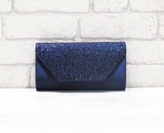 Абитуриентска чанта сатен/брокат синя DIDO-26624