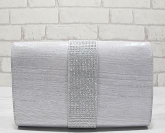 Абитуриентска чанта сребристa  текстил CSHF-22836
