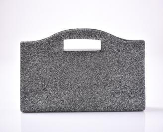 Абитуриентска чанта текстил/брокат сребърна JJKE-1013410