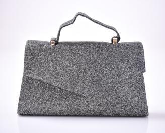 Абитуриентска чанта текстил ситен брокат тъмно сребрист UMFB-1013443
