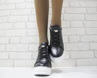 амски обувки на платформа еко кожа черни NJZX-23726