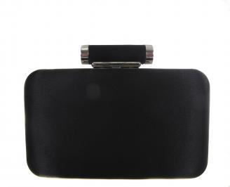 Бална чанта сатен  + камъни черна QHIM-18614