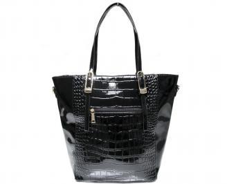 Дамска чанта черна еко кожа/лак ZAOQ-22645