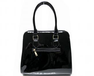 Дамска чанта  черна лак с дълъг косъм HIPE-22424