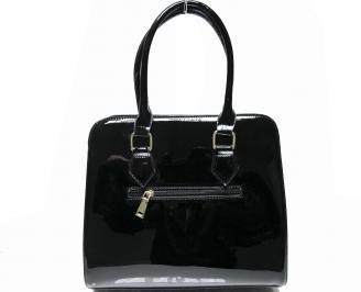 Дамска чанта  черна лак с къс косъм TDGO-22425
