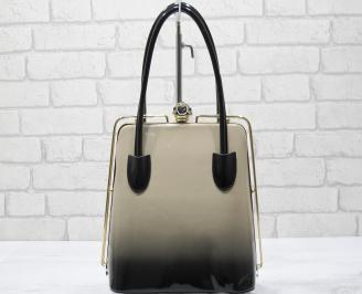 Дамска чанта черно/бежово  еко кожа/лак XADN-23435