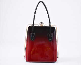 Дамска чанта черно/червено еко кожа/лак EYST-23424