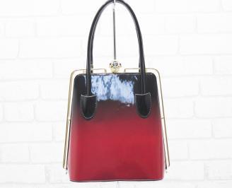 Дамска чанта черно/червено еко кожа/лак QGLJ-25495