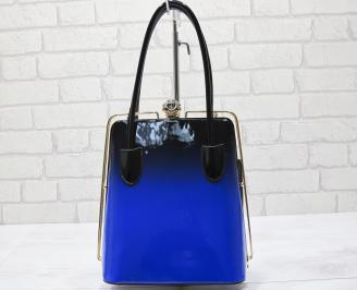 Дамска чанта черно/синя еко кожа/лак ZOYC-23402