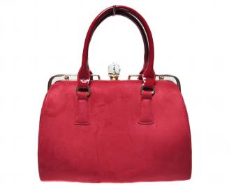 Дамска чанта червена  еко велур JLLH-22414