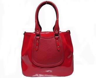 Дамска чанта червена еко кожа/лак UVMX-22617
