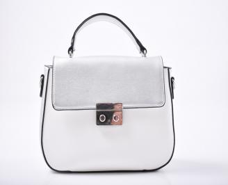 Дамска чанта еко кожа сребристо/бяло FBGR-1011976