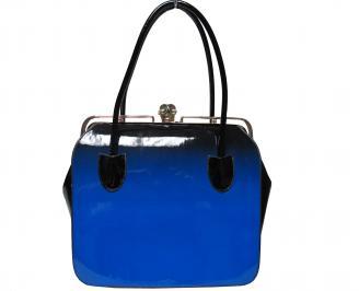 Дамска чанта еко кожа/лак синя RAGR-21881