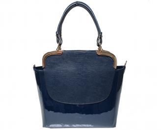Дамска чанта еко кожа/лак тъмно синя PYEQ-21911