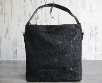 Дамска чанта еко кожа/дантела черна ZKHW-22849
