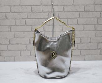 Дамска чанта еко кожа  сребриста QDLZ-22911