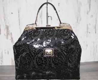 Дамска чанта еко кожа/дантела черна MOIX-22912