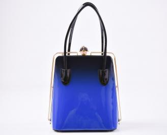 Дамска чанта еко кожа/лак черно /синя BJWK-23403