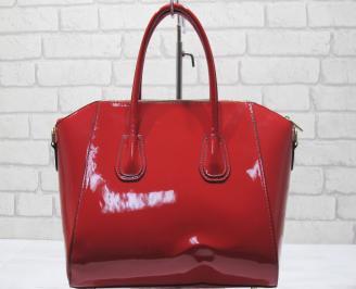 Дамска чанта еко кожа/лак червена LVEZ-23417