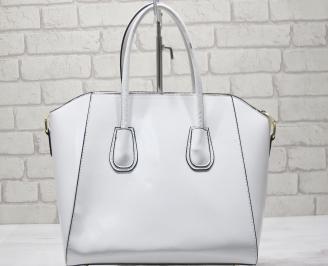 Дамска чанта еко кожа/лак бяла HHTK-23418