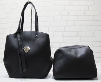 Дамска чанта еко кожа черна QMOO-23420