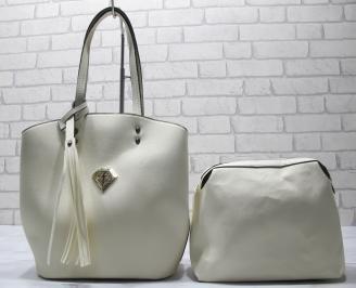 Дамска чанта еко кожа бежова MPNX-23429