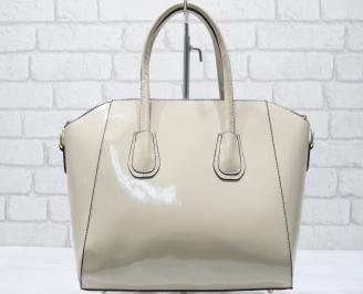 Дамска чанта еко кожа /лак бежова CKBR-23431
