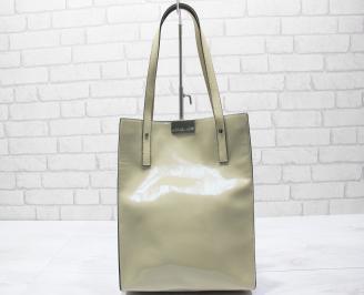 Дамска чанта еко кожа /лак бежова AQKR-23459