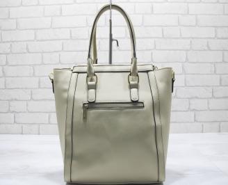 Дамска чанта еко кожа бежова BIQF-23549