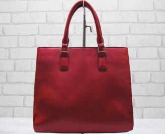 Дамска чанта еко кожа червена AOAB-23570