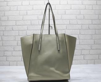 Дамска чанта еко кожа бежова OXMC-23572
