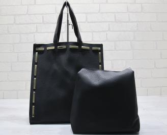 Дамска чанта еко кожа черна PPSB-23603