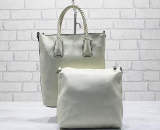 Дамска чанта еко кожа бежова MEMH-23632