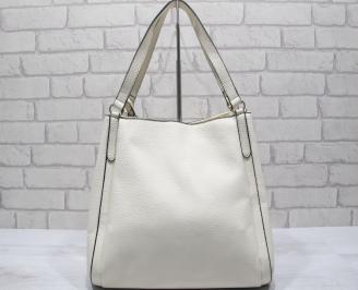 Дамска чанта еко кожа бежова DQLG-23789