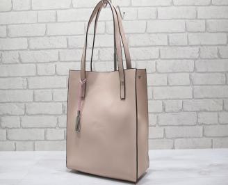 Дамска чанта еко кожа розова/тъмно/ DCRW-24192