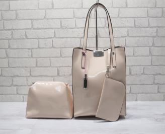 Дамска чанта еко кожа розова WLRO-24193