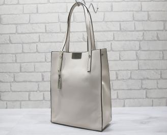 Дамска чанта еко кожа бежова VJID-24194