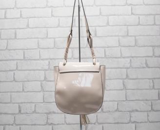 Дамска чанта еко кожа/лак тъмна пудра SWHO-24531