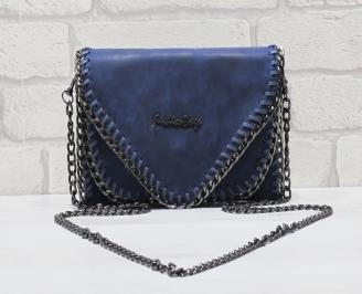Дамска чанта еко кожа синя CSAJ-24547