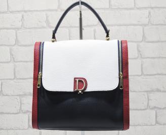 Дамска чанта еко кожа син/червен/бял QVCW-24552