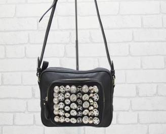 Дамска чанта еко кожа в черен цвят 1